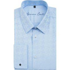 Koszula SIMONE1B KDNS000071. Niebieskie koszule męskie na spinki Giacomo Conti, m, w geometryczne wzory, z bawełny, z klasycznym kołnierzykiem, z długim rękawem. Za 229,00 zł.