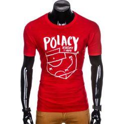 T-shirty męskie: T-SHIRT MĘSKI Z NADRUKIEM S966 – CZERWONY
