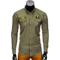 KOSZULA MĘSKA Z DŁUGIM RĘKAWEM K361 - KHAKI. Brązowe koszule męskie na spinki Ombre Clothing, m, z aplikacjami, z kontrastowym kołnierzykiem, z długim rękawem. Za 79,00 zł.