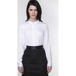 Bielizna damska: Biała Koszula z Długim Rękawem z Plisami