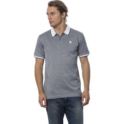Koszulka polo w kolorze szaro-białym. Niebieskie koszulki polo marki GALVANNI, l, z okrągłym kołnierzem. W wyprzedaży za 319,95 zł.