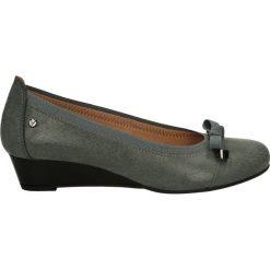 Czółenka - BO4360 KJ GRI. Szare buty ślubne damskie Venezia, ze skóry, na koturnie. Za 149,00 zł.