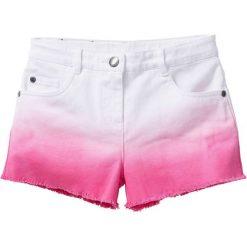 Krótkie spodenki twillowe bonprix biało-różowy flaming. Białe spodenki dziewczęce marki FOUGANZA, z bawełny. Za 69,99 zł.