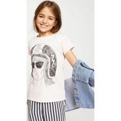 Mango Kids - Top dziecięcy Candy 104-164 cm. Szare bluzki dziewczęce Mango Kids, z nadrukiem, z bawełny, z okrągłym kołnierzem. Za 19,90 zł.