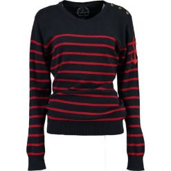 """Sweter """"Figue"""" w kolorze granatowo-czerwonym. Czerwone swetry klasyczne damskie Geographical Norway Women & Kids, l, z bawełny. W wyprzedaży za 108,95 zł."""