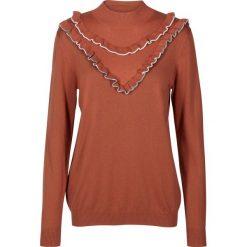 Sweter z falbanami i stójką. Brązowe kardigany damskie Nümph, m, z bawełny. Za 302,36 zł.