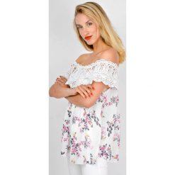 Bluzki asymetryczne: Bluzka hiszpanka w kwiaty z koronkowym dekoltem