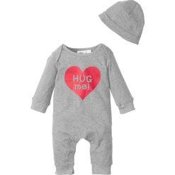 Czapeczki niemowlęce: Pajacyk niemowlęcy z dżerseju + czapka (2 części), bawełna organiczna bonprix jasnoszary melanż