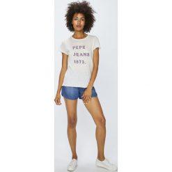 Pepe Jeans - Top. Różowe topy damskie marki Pepe Jeans, m, z jeansu. W wyprzedaży za 99,90 zł.
