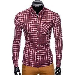 KOSZULA MĘSKA W KRATĘ Z DŁUGIM RĘKAWEM K429 - BORDOWA/GRANATOWA. Brązowe koszule męskie na spinki marki Ombre Clothing, m, z aplikacjami, z kontrastowym kołnierzykiem, z długim rękawem. Za 59,00 zł.