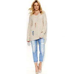 Odzież damska: Beżowy Sweter Dłuższy Melanżowy z Dziurami