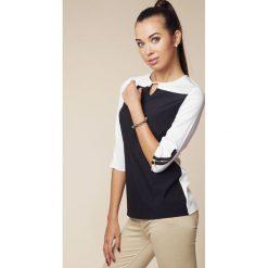 Bluzki damskie: Dwubarwna Bluzka z Suwakami na Rękawach - Czarny&biały