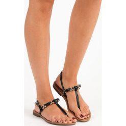 Chodaki damskie: Czarne płaskie sandały japonki COMER czarne