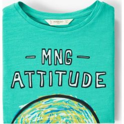 Mango Kids - T-shirt dziecięcy Mangoc 104-164 cm. Brązowe t-shirty chłopięce z nadrukiem marki Mango Kids, z bawełny, z okrągłym kołnierzem. W wyprzedaży za 19,90 zł.