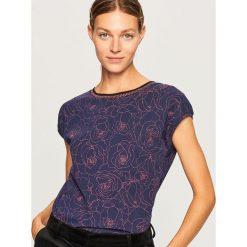 T-shirt we wzory - Granatowy. Niebieskie t-shirty damskie Reserved, l. Za 39,99 zł.