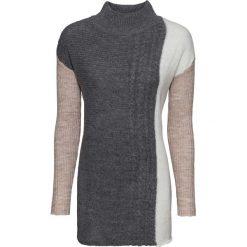Sweter dzianinowy bonprix beżowy melanż - antracytowy melanż - biel wełny melanż. Brązowe swetry klasyczne damskie bonprix, z dzianiny, ze stójką. Za 54,99 zł.