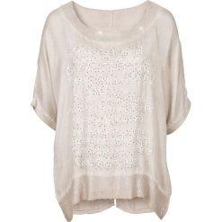 Bluzki asymetryczne: Bluzka z nadrukiem i cekinami bonprix piaskowy