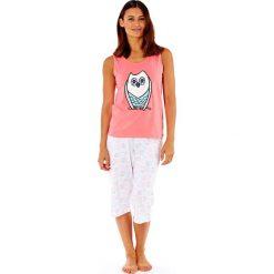 Piżamy damskie: Damska piżama bawełniana Owl Coral