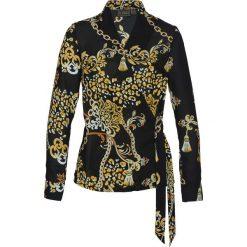 Bluzka z nadrukiem bonprix czarny z nadrukiem. Czarne bluzki z odkrytymi ramionami bonprix, z nadrukiem, z kopertowym dekoltem. Za 99,99 zł.