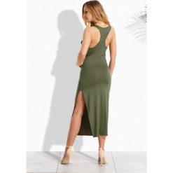 Bokserki damskie: Elegancka długa sukienka w typie bokserki khaki