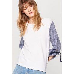 Bluzy damskie: Bluza z ozdobnymi rękawami – Biały