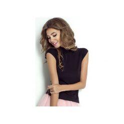 Bluzka Lilly. Czarne bluzki damskie Wow fashion, w koronkowe wzory, z koronki, eleganckie, ze stójką, z krótkim rękawem. Za 139,00 zł.