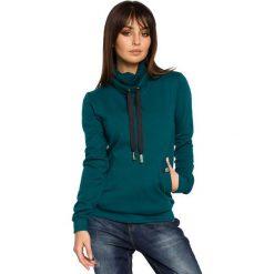 Bluzy sportowe damskie: Zielona Bluza z Wysokim Kołnierzem