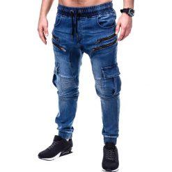 SPODNIE MĘSKIE JEANSOWE JOGGERY P406 - NIEBIESKIE. Niebieskie joggery męskie Ombre Clothing, z bawełny. Za 79,00 zł.