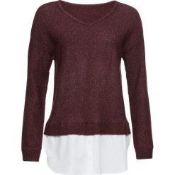 Sweter z koszulową wstawką bonprix oberżyna. Fioletowe swetry klasyczne damskie bonprix, z dekoltem w serek. Za 59,99 zł.