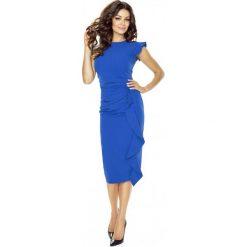 Stylowa Niebieska Sukienka z Falbanką. Czerwone sukienki balowe marki Molly.pl, l, z jeansu, z dekoltem na plecach, z długim rękawem. W wyprzedaży za 139,93 zł.