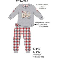 Bielizna chłopięca: Piżama chłopięca DR 174/83 My family Melanż szara r. 116
