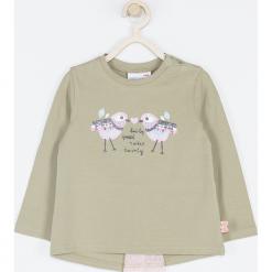 Koszulka. Zielone bluzki dziewczęce bawełniane marki BELLE & CUTE, z aplikacjami, z długim rękawem. Za 45,90 zł.