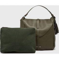 Answear - Torebka. Szare torebki klasyczne damskie marki ANSWEAR, w paski, z materiału, duże. Za 149,90 zł.