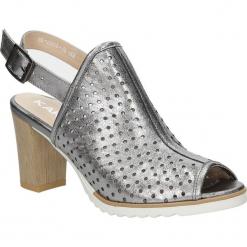 Sandały skórzane na słupku Karino 1997/078-P. Fioletowe sandały damskie na słupku marki Karino, ze skóry. Za 179,99 zł.