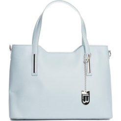 Torebki klasyczne damskie: Skórzany shopper bag w kolorze błękitnym – 45 x 37 x 16 cm
