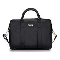 SKÓRZANA TORBA NA LAPTOPA DULCE CZARNA BROOKE. Czarne torby na laptopa FeliceGold, w paski, z bawełny. Za 399,00 zł.