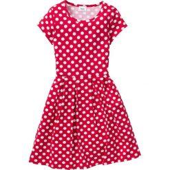 Sukienki dziewczęce z falbanami: Sukienka shirtowa w groszki bonprix czerwono-biały w groszki