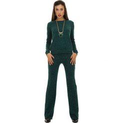 Swetry oversize damskie: 2-częściowy zestaw w kolorze ciemnozielonym – sweter, spodnie