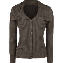 Swetry damskie: Outlander Fold Over Kardigan damski brązowy