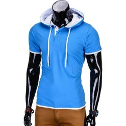 T-shirty męskie: T-SHIRT MĘSKI Z KAPTUREM BEZ NADRUKU S680 – NIEBIESKI