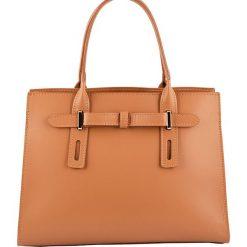 Torebki klasyczne damskie: Skórzana torebka w kolorze jasnobrązowym – 30 x 22 x 13 cm