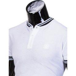 KOSZULKA MĘSKA POLO BEZ NADRUKU S843 - BIAŁA. Białe koszulki polo Ombre Clothing, m, z nadrukiem. Za 29,00 zł.