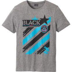 T-shirt Slim Fit bonprix szary melanż. Zielone t-shirty męskie z nadrukiem marki bonprix, z kopertowym dekoltem, kopertowe. Za 24,99 zł.