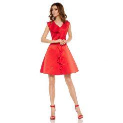 Czerwona Imprezowa Sukienka z Falbanką. Czerwone sukienki balowe marki Molly.pl, na imprezę, na lato, l, z tkaniny, z falbankami, bez rękawów. Za 159,90 zł.