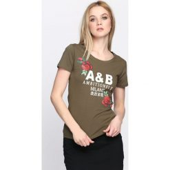 Oliwkowy T-shirt Strength of Mind. Zielone bluzki damskie Born2be, l. Za 39,99 zł.