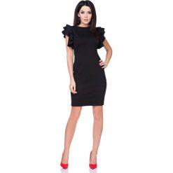 Sukienki: Sukienka Ołówkowa Mała Czarna z Falbankami na Ramionach