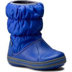 Buty zimowe chłopięce: Śniegowce CROCS – Winter Puff Boot Kids 14613 Cerulean Blue/Light Grey