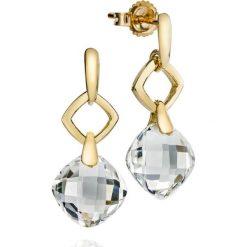Kolczyki damskie: RABAT Kolczyki Złote – złoto żółte 585, Biały topaz