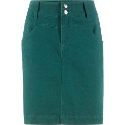 Spódnica ze stretchem z domieszką lycry bonprix głęboki zielony. Niebieskie spódniczki marki bonprix, z nadrukiem. Za 59,99 zł.