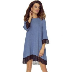 Reina - sukienka trapezowa jeans gładki. Szare sukienki Bergamo, z bawełny, trapezowe. Za 194,99 zł.